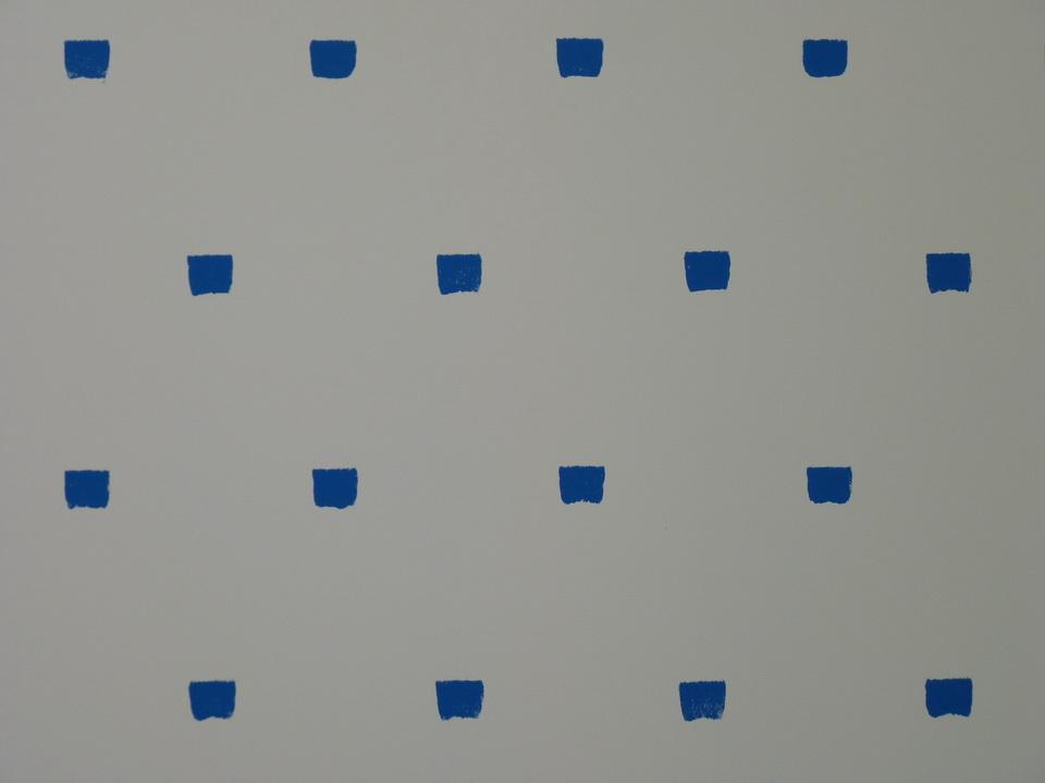 055  Niele Toroni  empreintes des pinceau n-50 a intervalles reguliers de 30cm acrylique bleue sur toile 200x200cm 2016