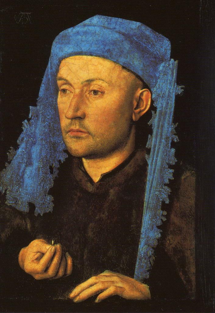 01 Jan van Eyck Portrait de l Homme au chapeau bleu