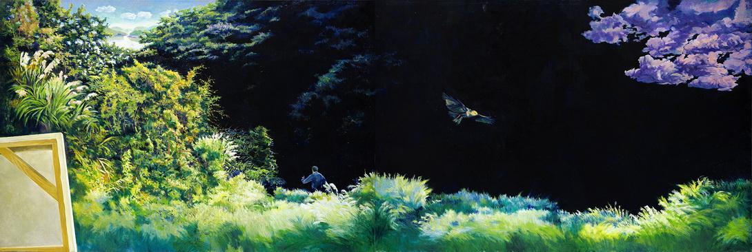 004 寂靜 130x386cm (Diptych) 2015-16 油彩 畫布