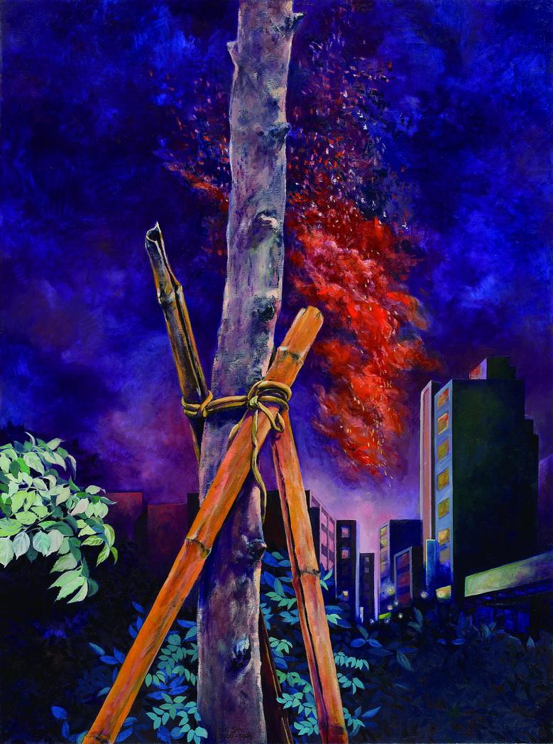009 午夜磔刑(台北之二) 130x97 cm 2000-2008 油彩 畫布