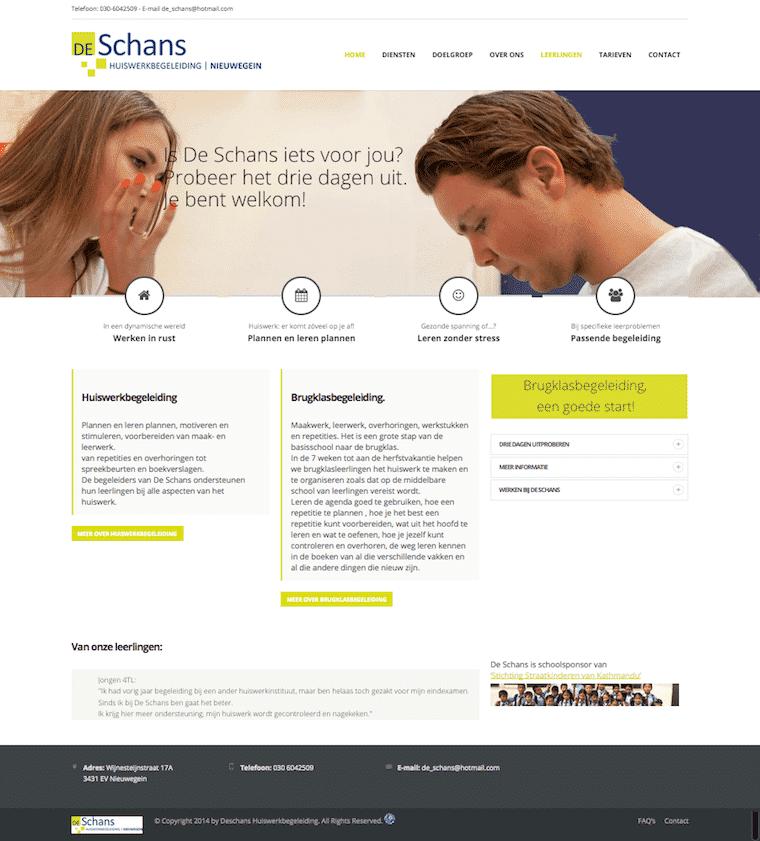 Création du site de De Schans Huiswerkbegeleiding