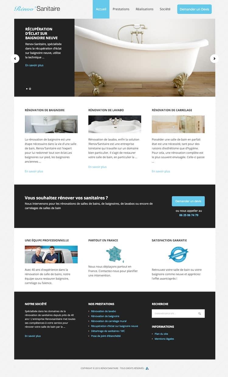 Site internet de l'entreprise Rénov'Sanitaire