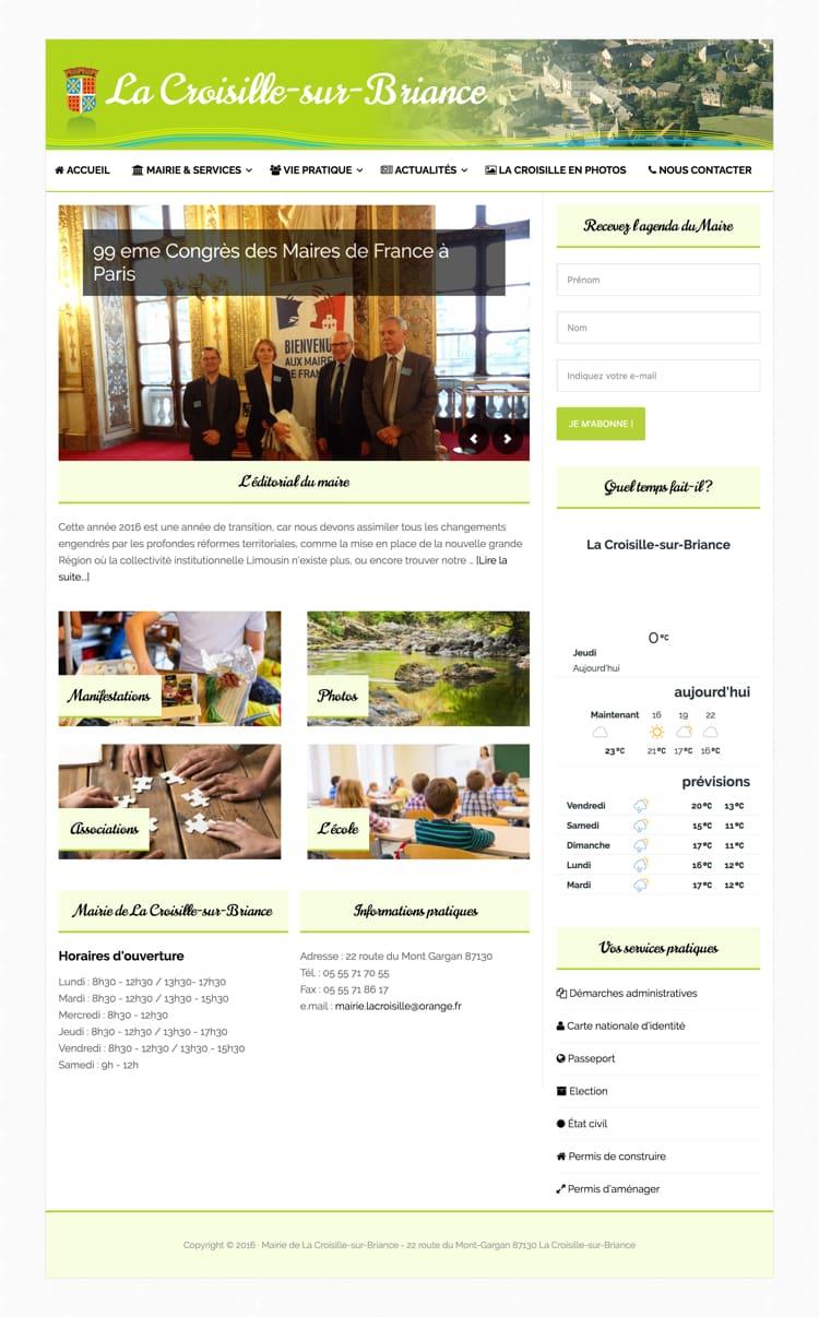 Création du site internet pour la mairie de La Croisille sur Briance