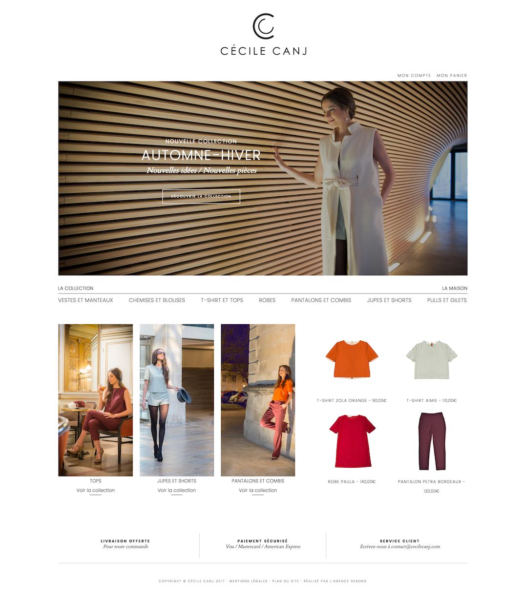 Création du site ecommerce Cecile Canj