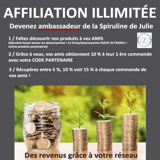 AFFILIATION ILLIMITÉE LA SPIRULINE DE JULIE