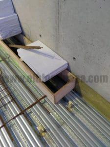 Ejemplo de previsión para el paso de una instalación en losa de chapa colaborante