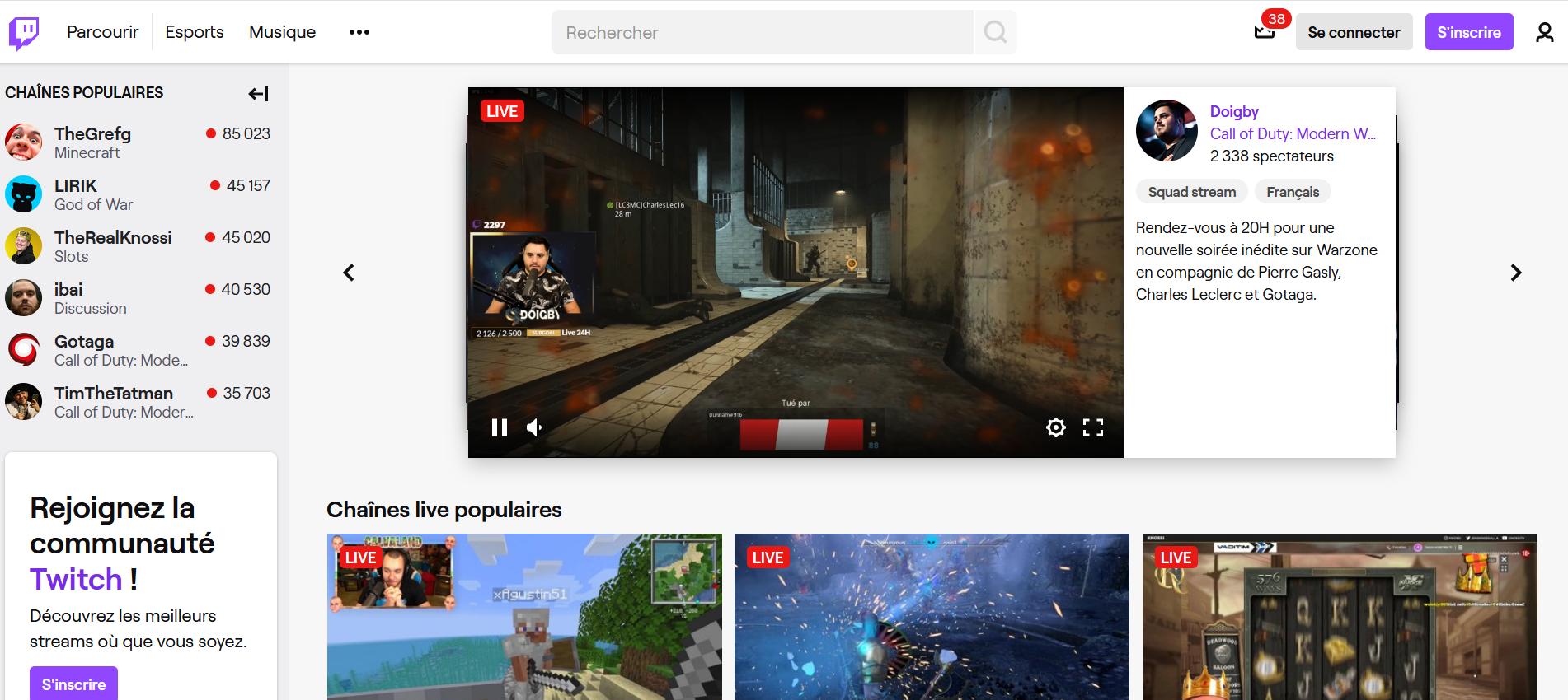 Aperçu Twitch TV - Smart TV - Télé connectée