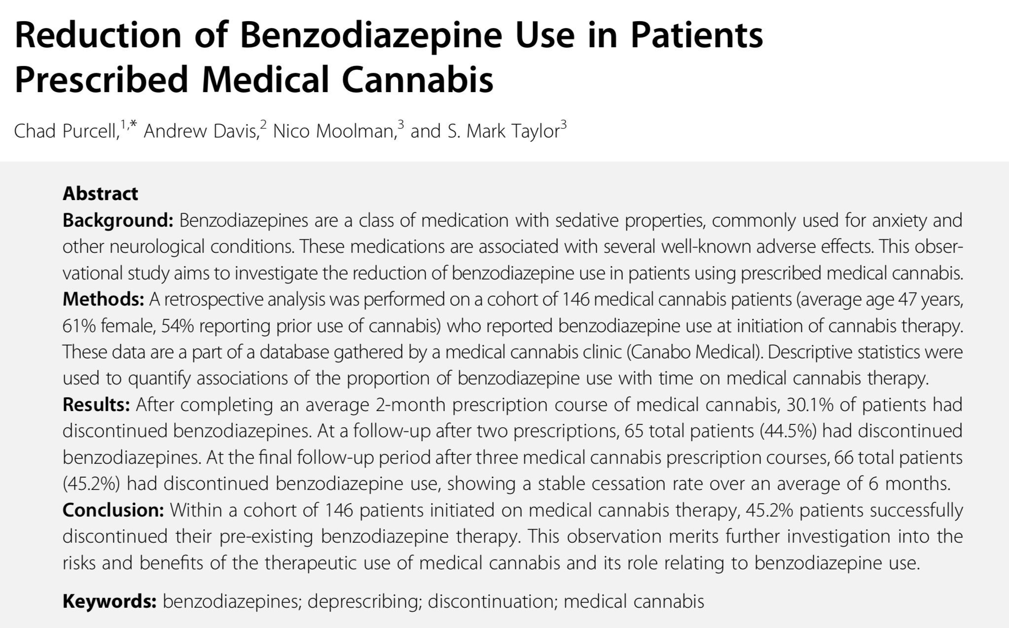 Reduction of Benzodiazepine Use in Patients Prescribed Medical Cannabis - Cannabiscienza
