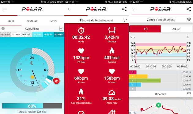 montre running polar flow