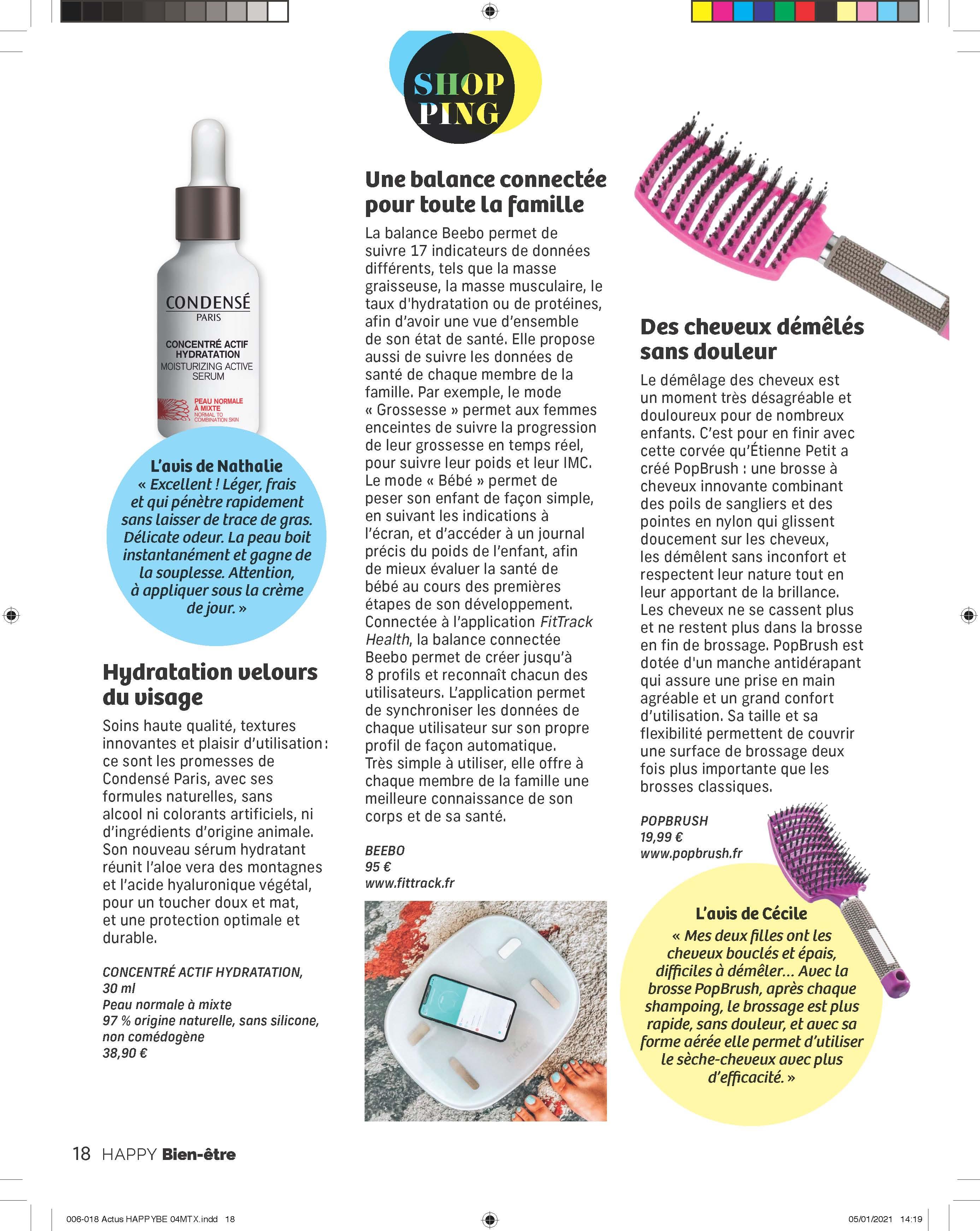 Parution magazine HAPPY BIEN-ÊTRE Page Shopping : Des cheveux démêlés sans douleur