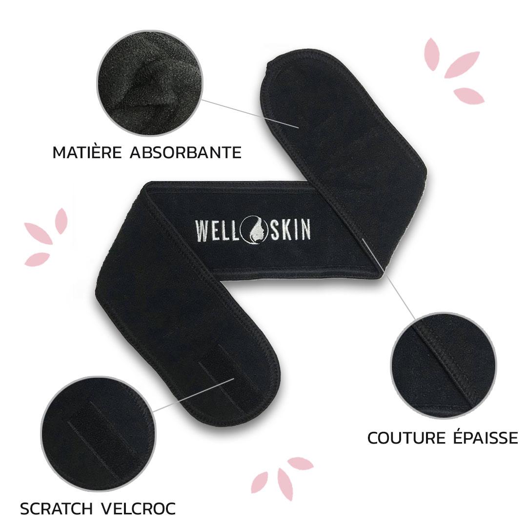 Bandeau makeup wellskin bandeau tête rose et noir