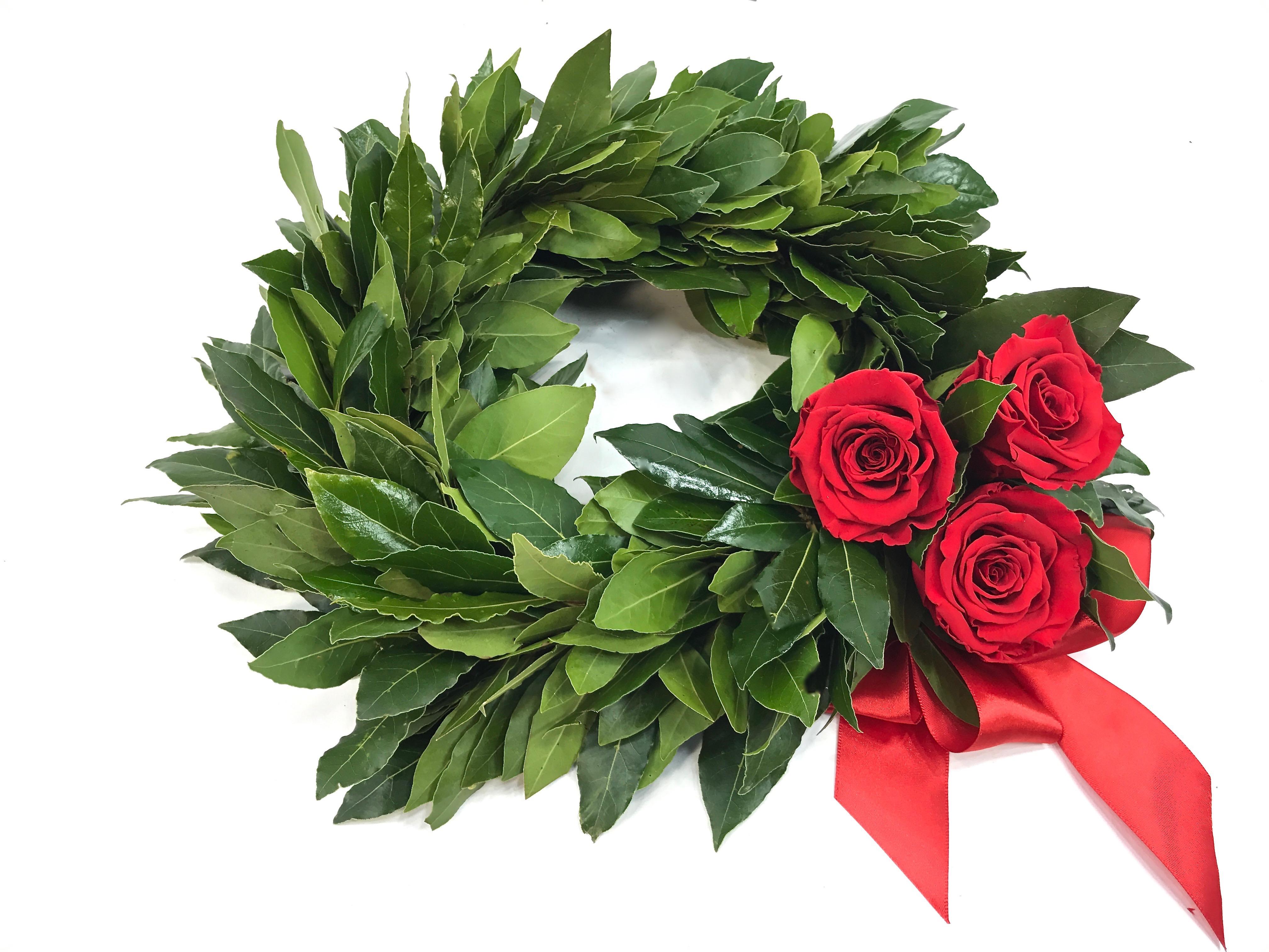 Corona Di Alloro Con Tre Rose Rosse Fiorit Fiori A Domicilio A