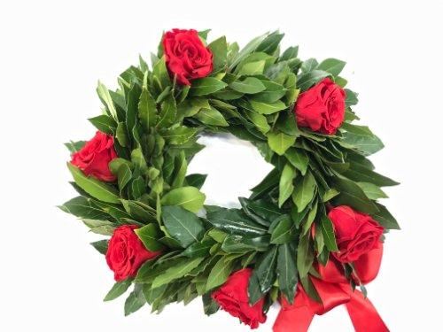 Corona Di Alloro Con Rose Rosse Fiorit Fiori A Domicilio A Firenze
