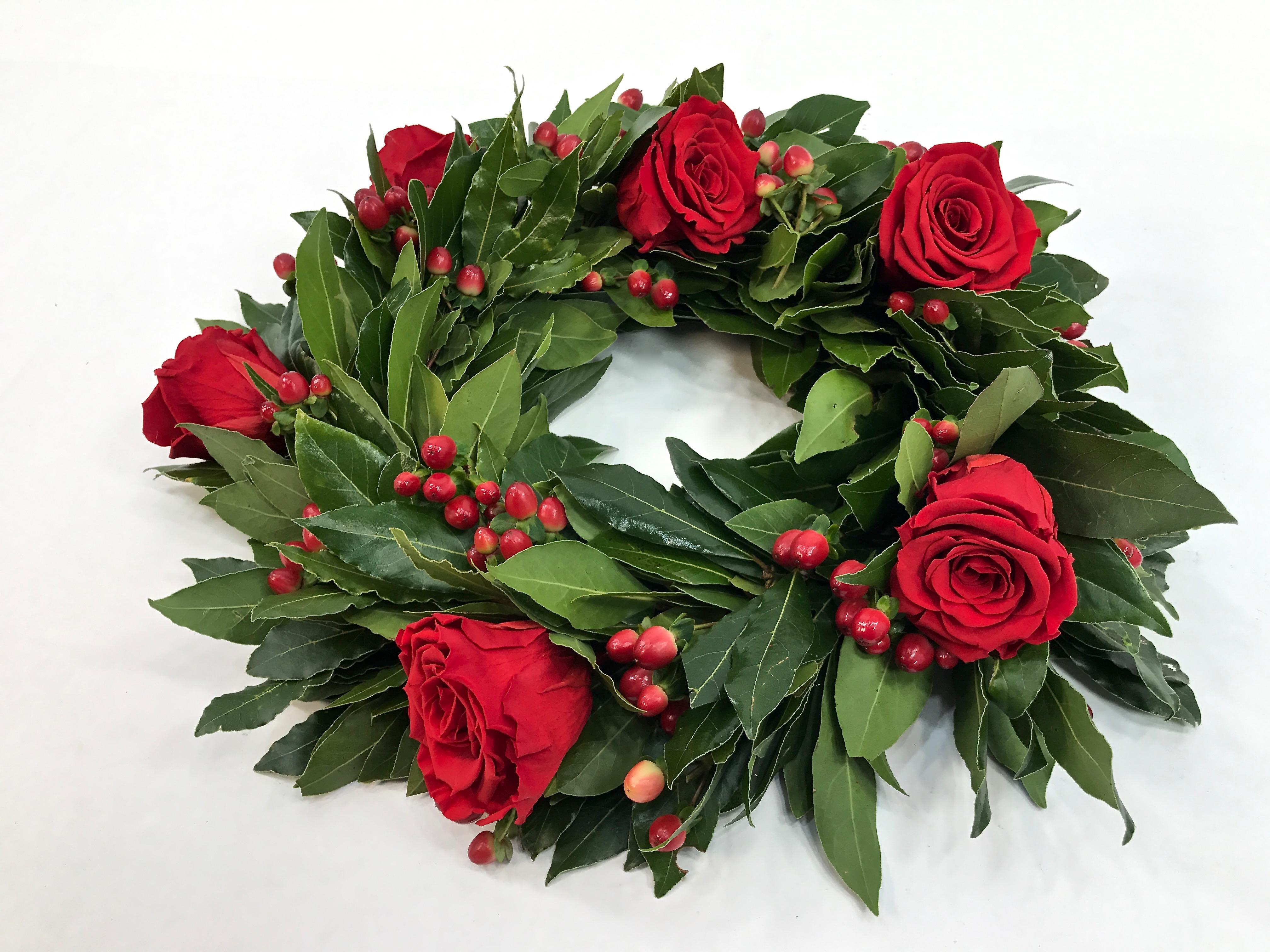 Corona Di Alloro Per Laurea Con Bacche E Rose Fiorit Fiori A