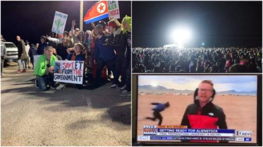 Des centaines de personnes se présentent à la Zone 51 mais ne donnent pas l'assaut