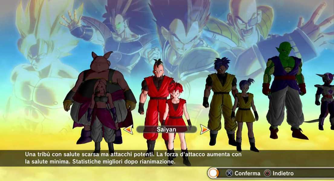 Dragon Ball Xenoverse Recensione - menu creazione