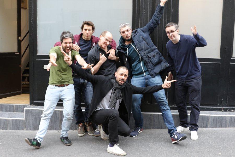 GD - Pierre Razetto, Boris Belghiti, maxime paccalet, P-E barre, Dimitri Cohen + accroupi quentin blondel (voix)