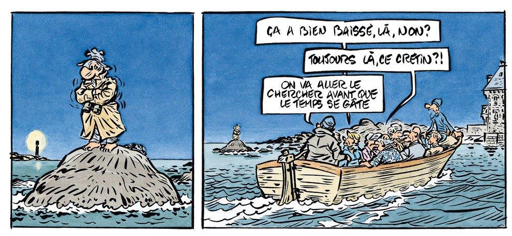 Palmer en Bretagne - coincé sur son rocher - BD René Pétillon