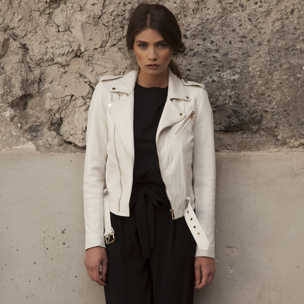 Linda Raff Collection -Jacket MINUJIN real leather White