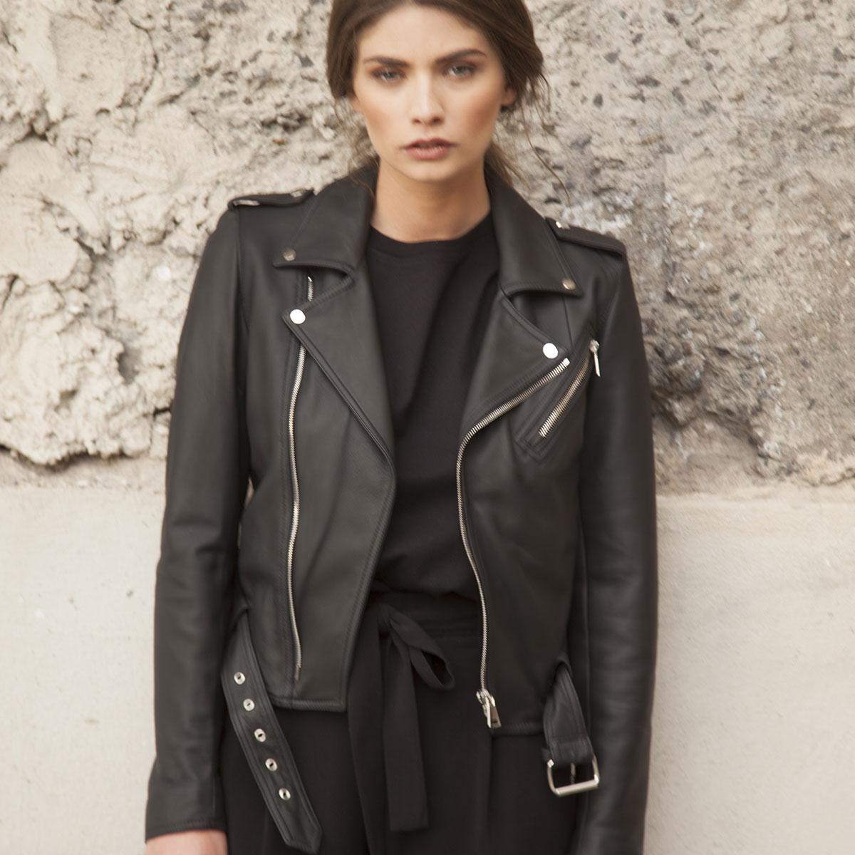 Linda Raff Collection -Jacket MINUJIN real leather Black