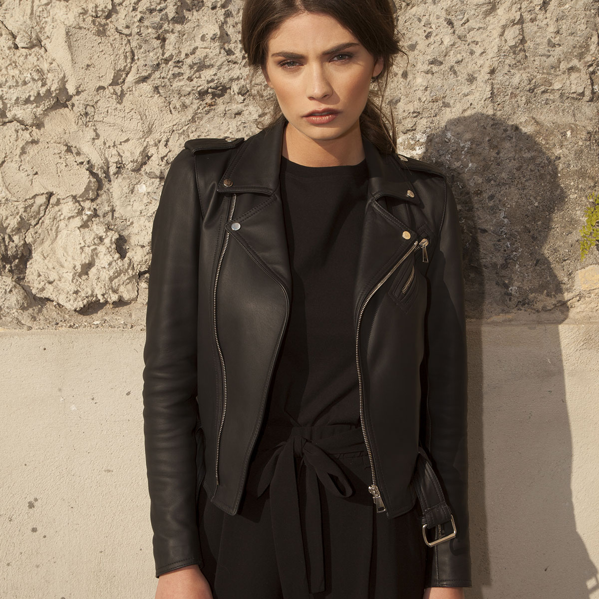 Linda Raff Collection -Jacket MINUJIN real leather strong Black