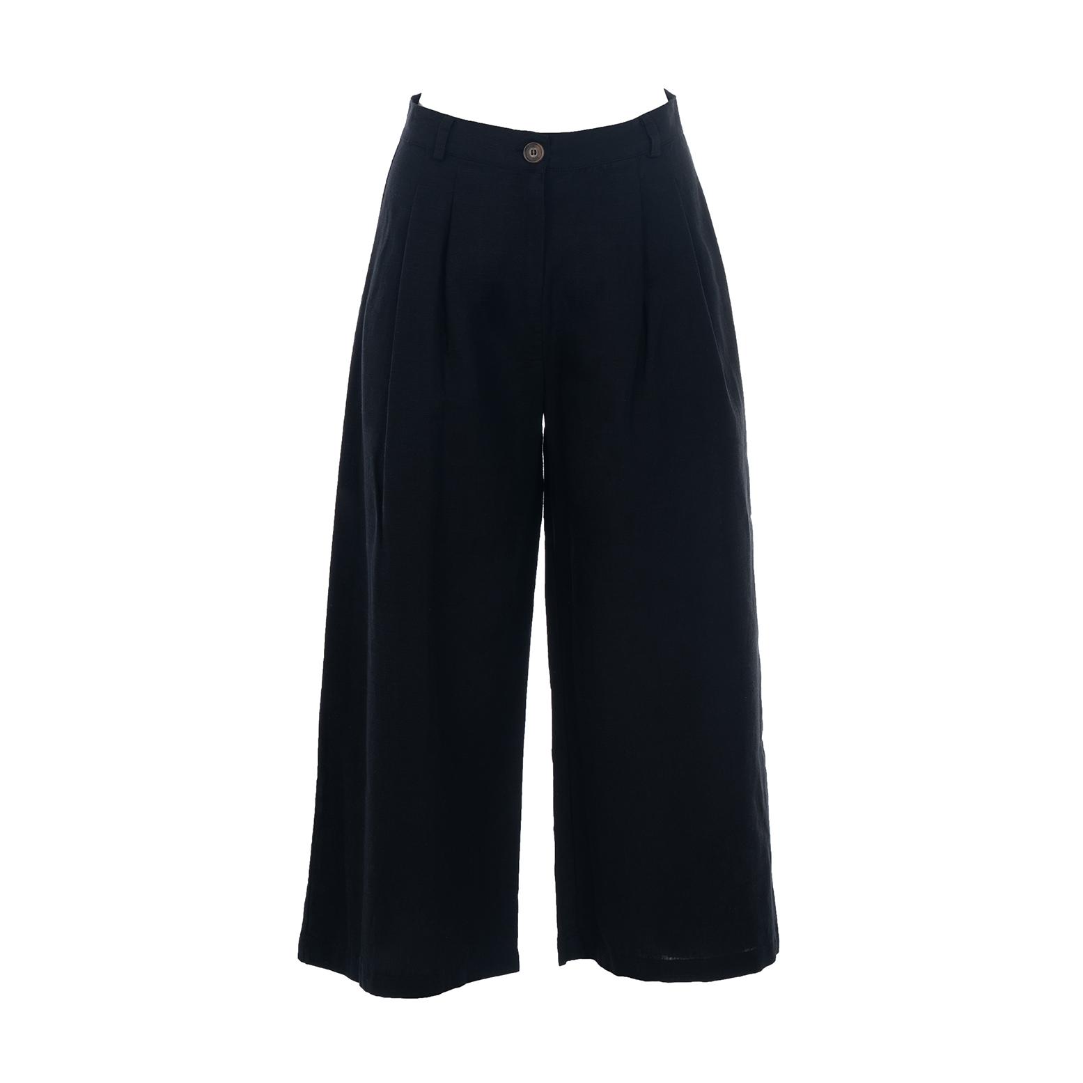 Linda Raff Collection -BEACH PANTS CORN BLACK LINEN
