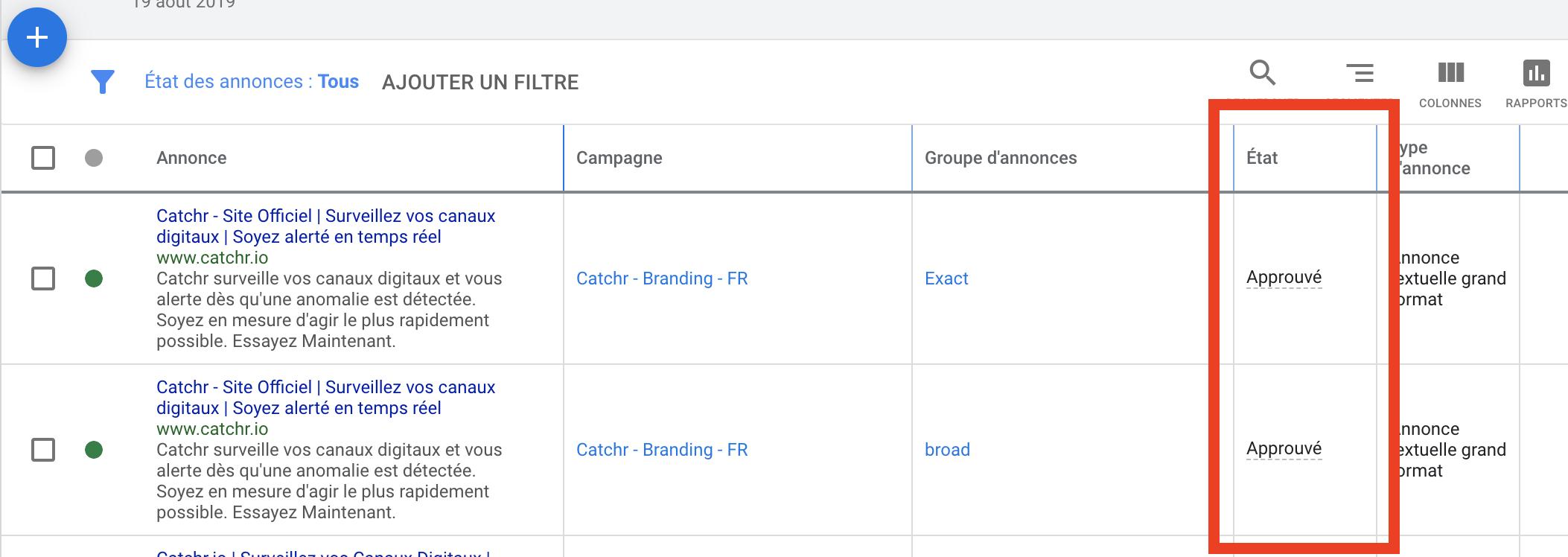 Capture d'écran annonces Catcchr Google Ads