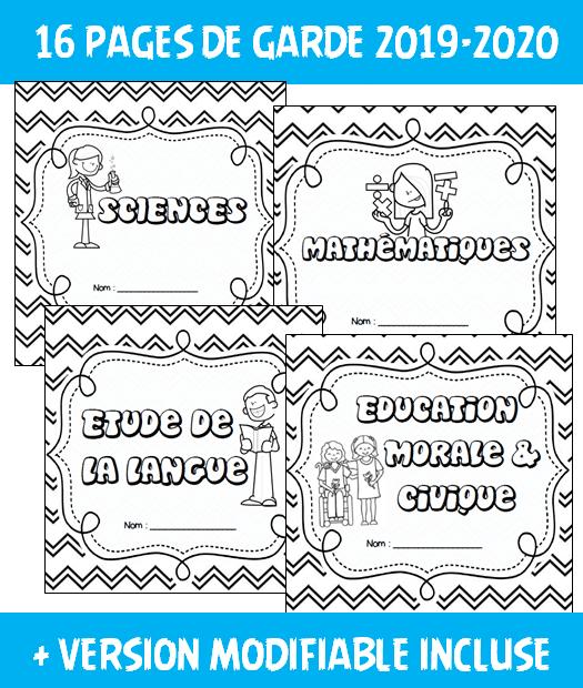 Pages de garde année scolaire 2019-2020
