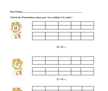 [Version éditable] Décomposition de nombres compris entre 10 et 20