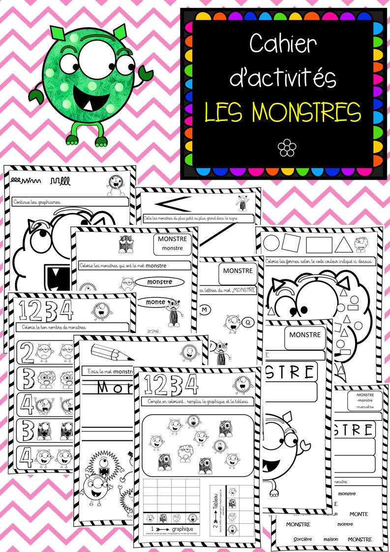 Cahier d'activités des Monstres - Etude de la Langue, Mathématiques Grande Section, Maternelle ...