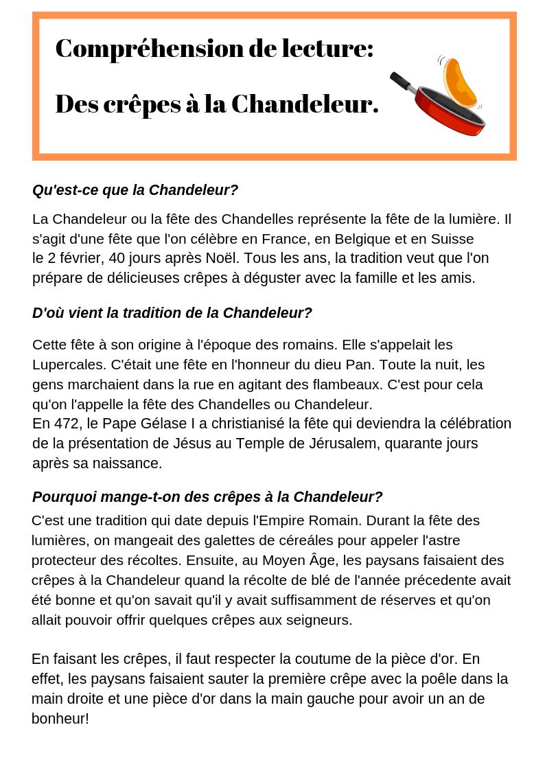 Compréhension de lecture : des crêpes à la Chandeleur. - Lecture CE2, CM1, CM2 - La Salle des ...