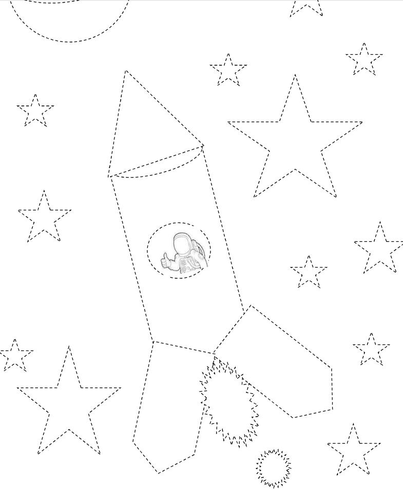Coloriage et dessin : fusée et bonhomme de neige