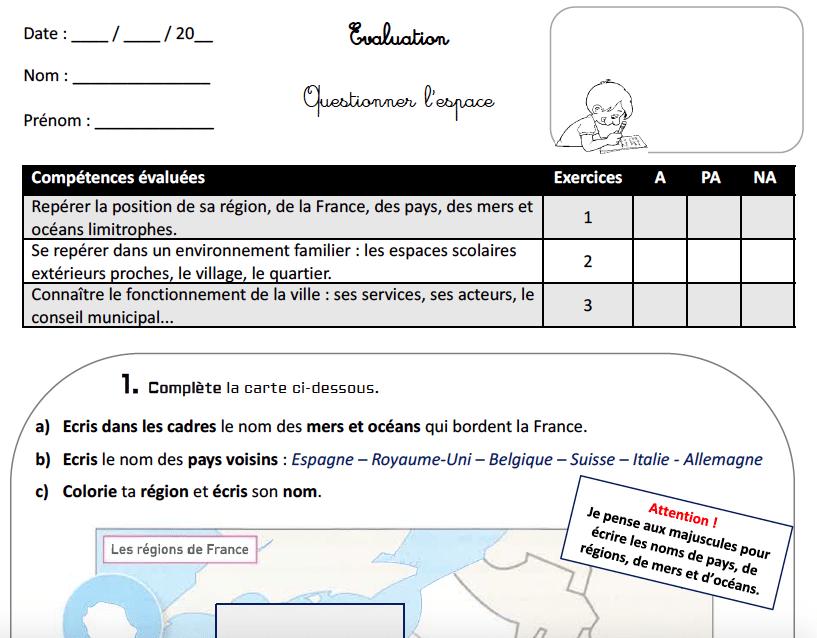Evaluation CE2 QLM (espace) : l'espace proche et lointain