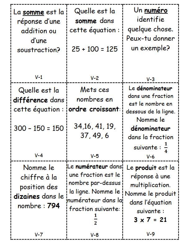 Cartes devinettes : vocabulaire mathématiques de CE2