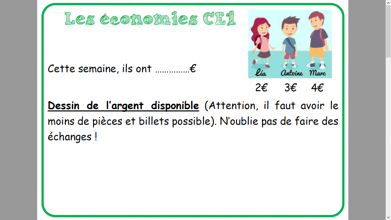 Affichage «les économies» MHM CE1 CE2