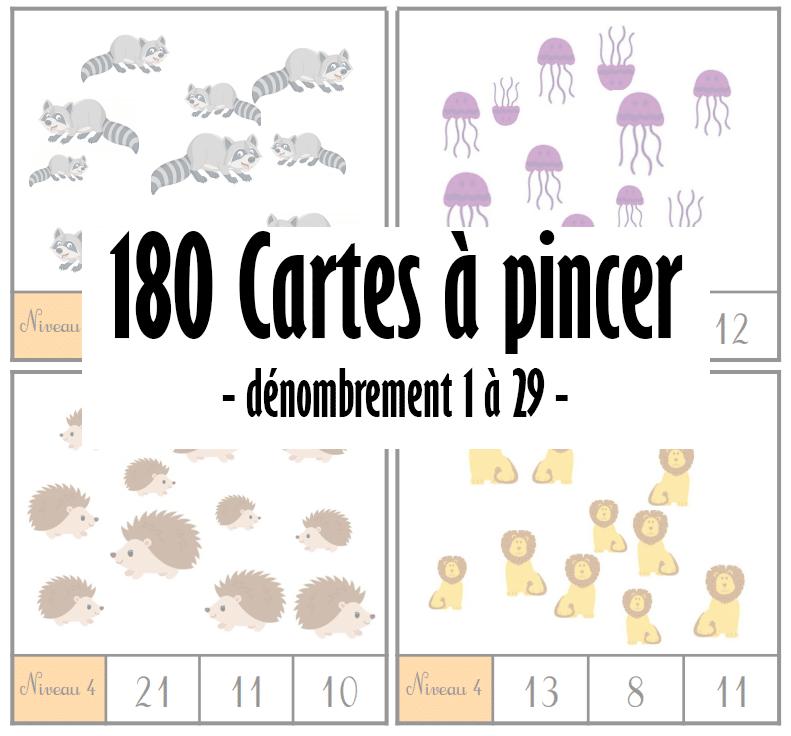180 Cartes à pincer : dénombrement 1 à 29 – animaux
