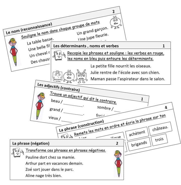 Pack d'exercices quotidiens grammaire/conjugaison