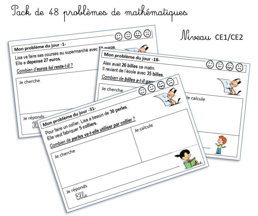 Pack de mini problèmes de mathématiques CE1 / CE2