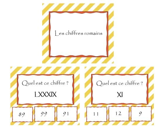 Les chiffres romains : cartes à choix