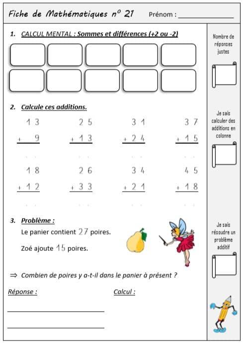 Fiches d'exercices mathématiques ce1 - Mathématiques CE1 ...
