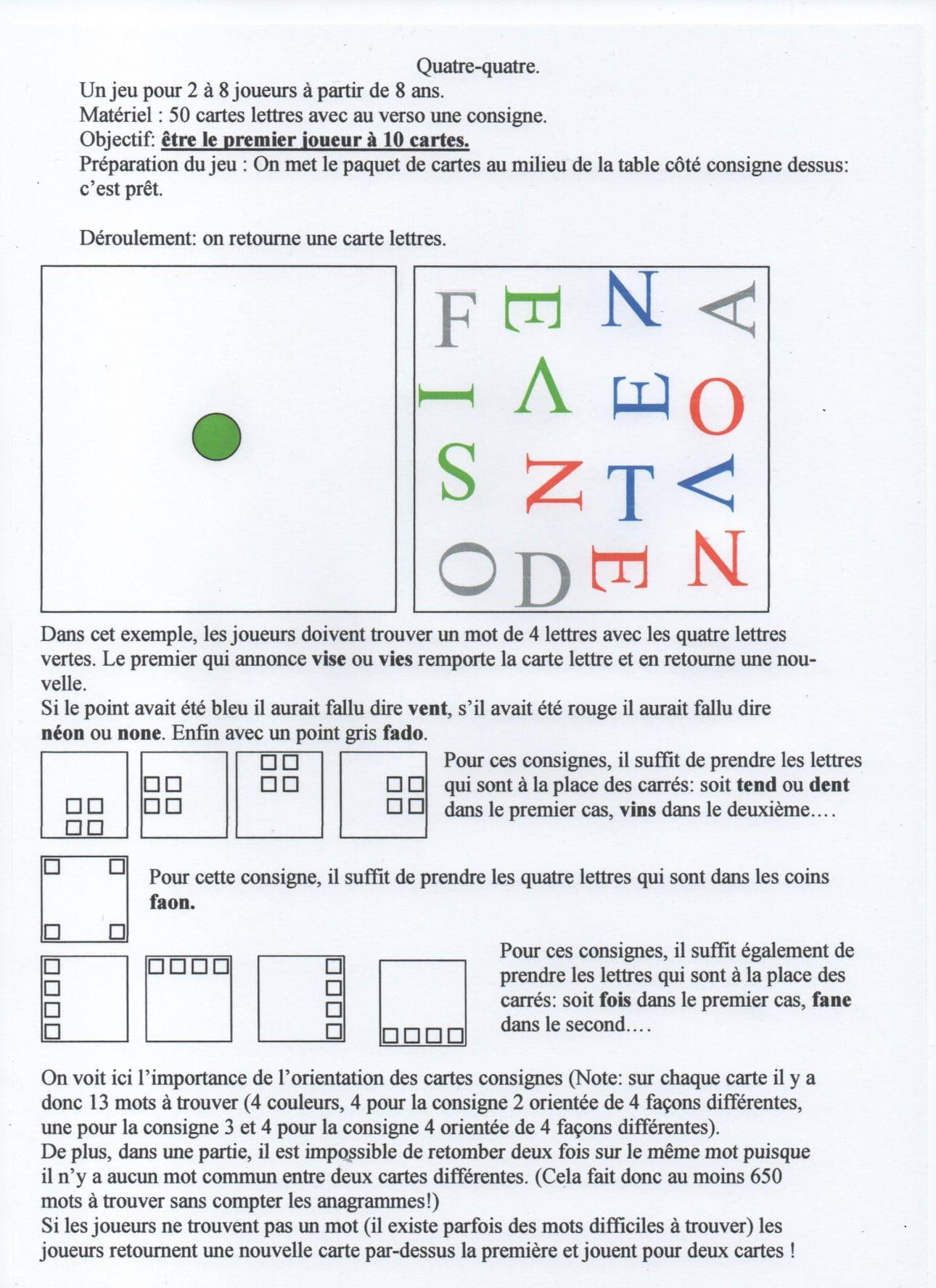 jeu quatre quatre sur les mots de quatre lettres