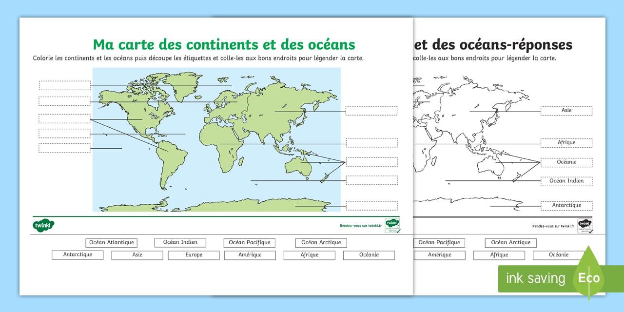 Feuille d'activités : Carte des continents et océans à légender