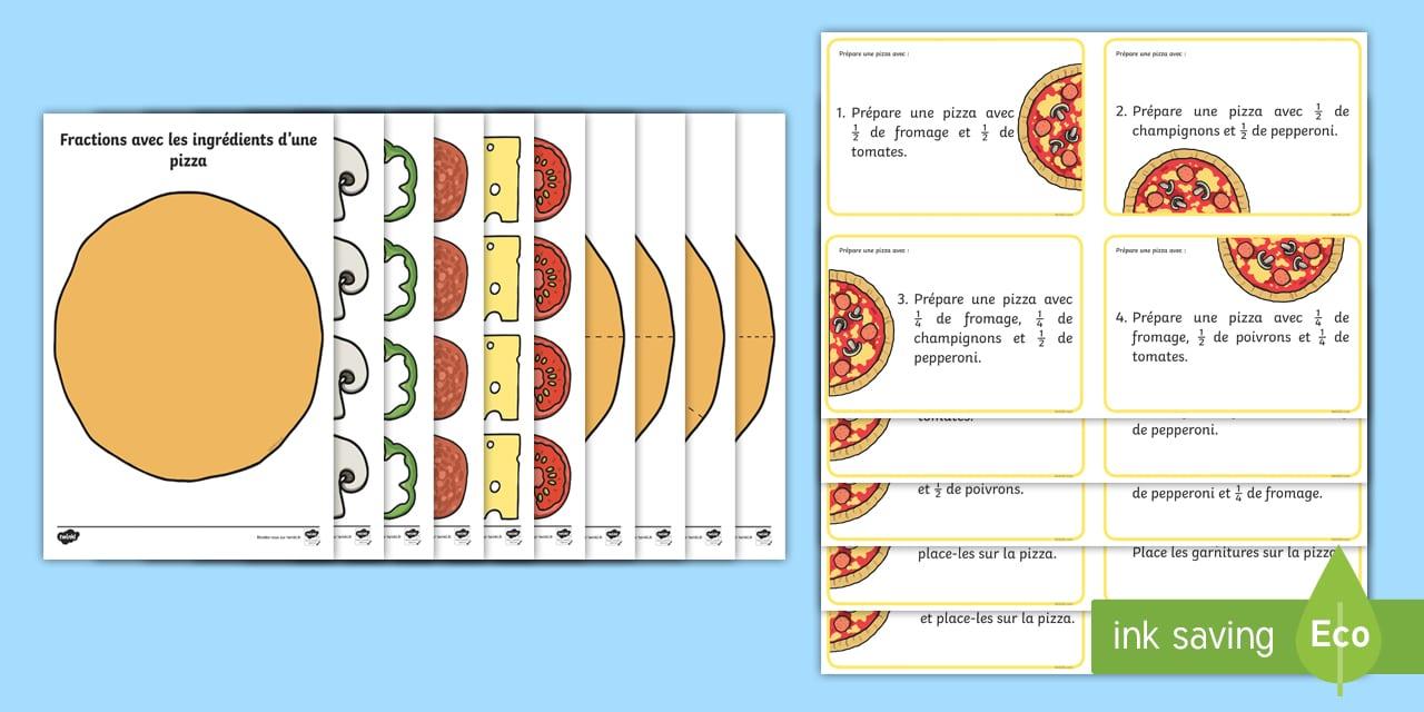 Feuille d'activités : Fractions avec les ingrédients d'une pizza