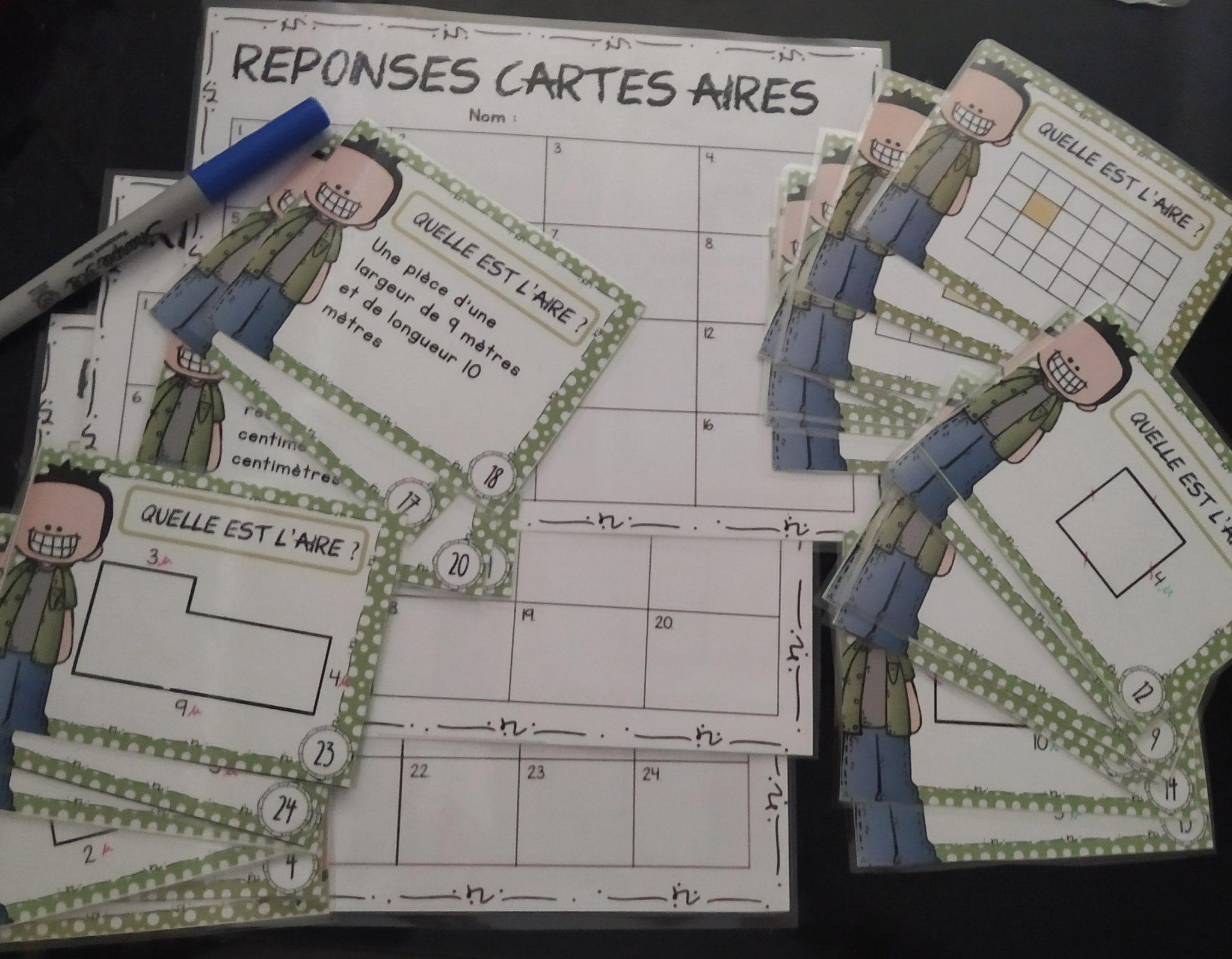 Aire d'un polygone – 24 cartes colorées plastifiables avec 3 cartons de réponses