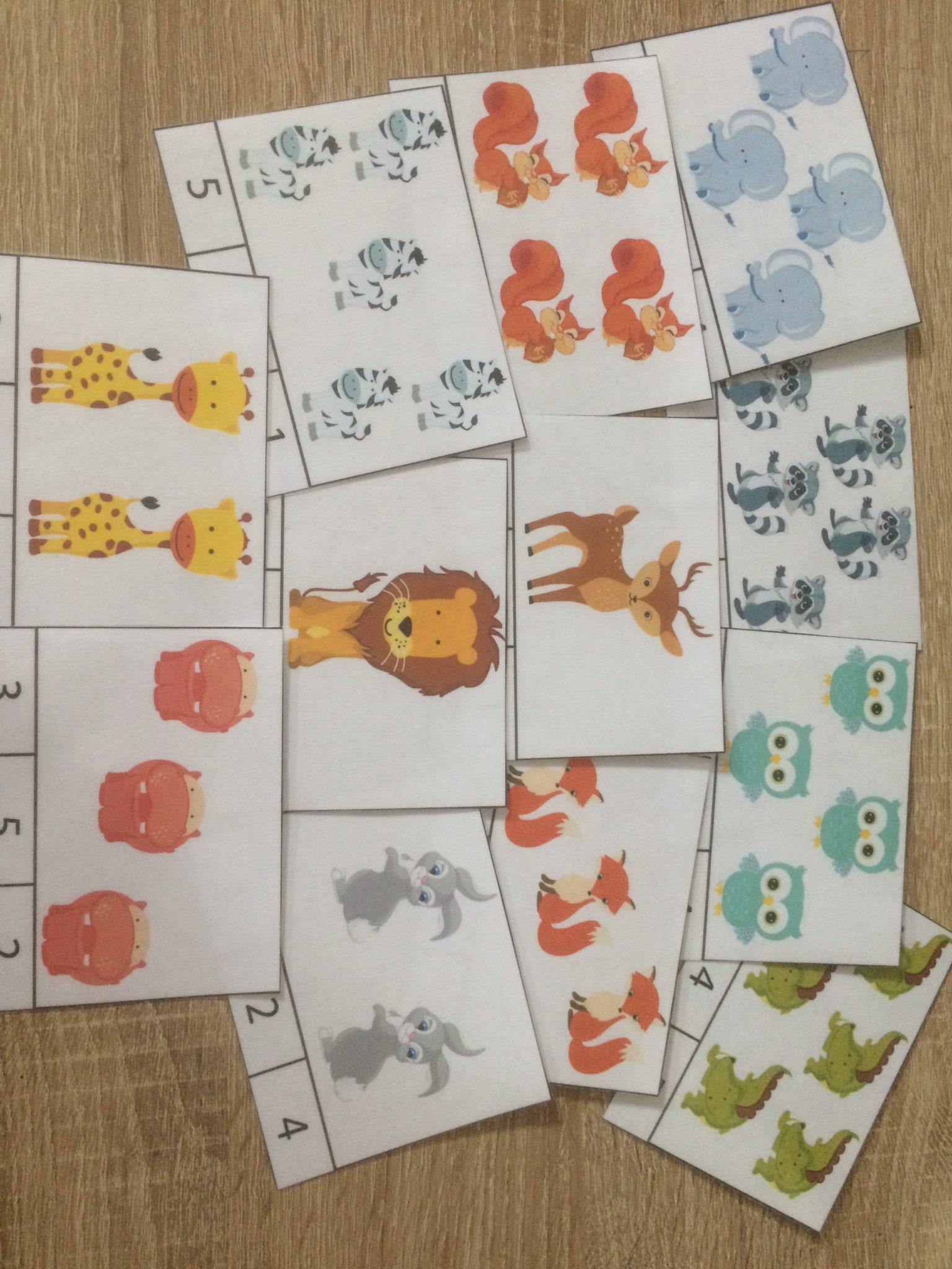 Cartes de dénombrement Les animaux de la forêt et de la savane
