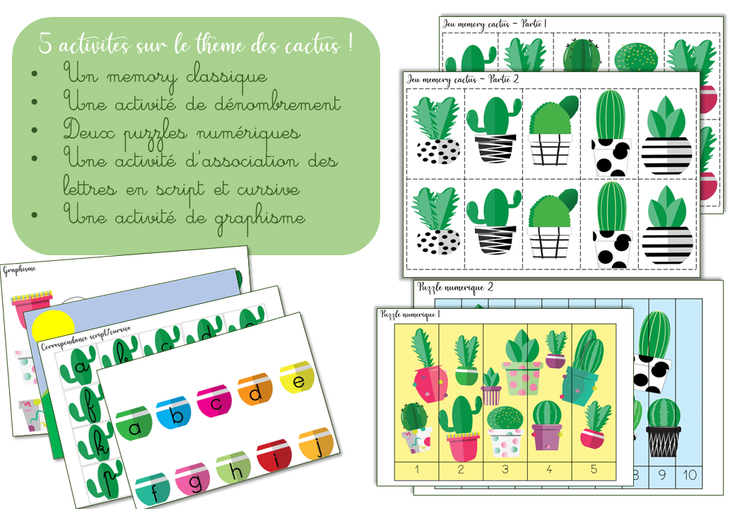 Pack d'activités sur le thème des cactus