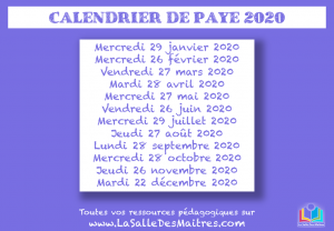 Calendrier Paye Education Nationale 2020