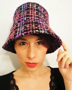 Cappello secchiello in tweed