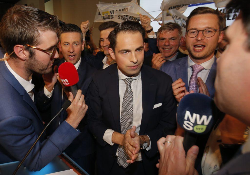 Tom Van Grieken na de overwinning van Vlaams Belang tijdens de verkiezingen van 2019