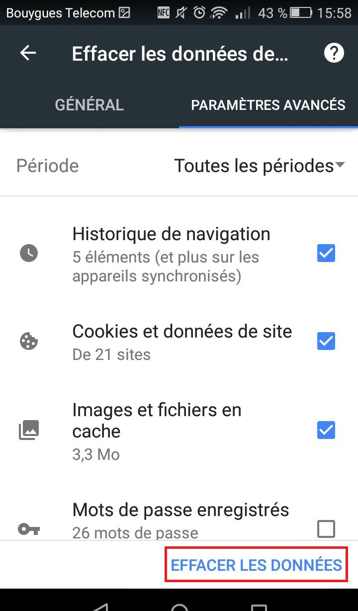 Menu historique sur mobile Android